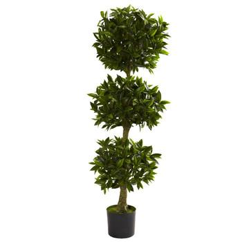 5' Silk Triple Bay Leaf Topiary UV Resistant Indoor Outdoor