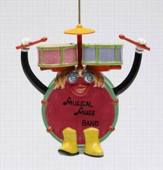 Rock & Roll Rock Band Drum Tree Ornaments by Ed Sussman, Set of 4