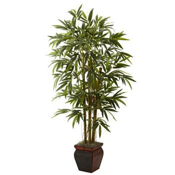 5.5' Bamboo Silk Tree with Decorative Planter