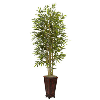 6' Silk Bamboo Tree with Decorative Planter