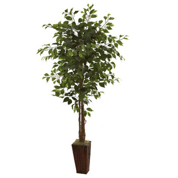 6' Silk Ficus Tree with Bamboo Planter