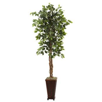 6.5' Silk Ficus Tree with Decorative Planter