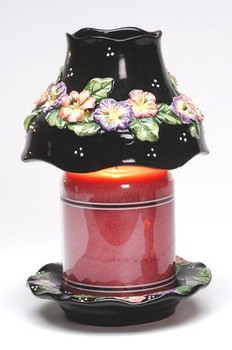 Pansy Flower Candle Jar Shade and Plate