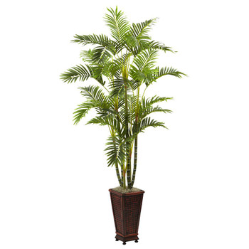 6.5' Areca Silk Tree with Decorative Planter