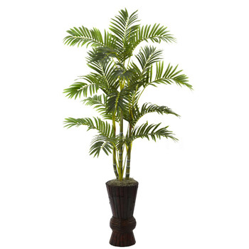 "62"" Silk Areca Tree with Decorative Planter"
