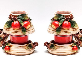 Small Apple Candle Jar Holder and Shade, Set of 2
