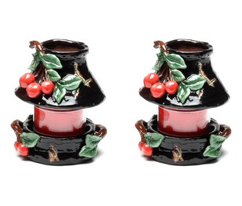 Small Cherry Candle Jar Holder and Shade, Set of 2