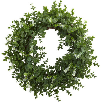 "18"" Eucalyptus Double Ring Silk Wreath with Twig Base"