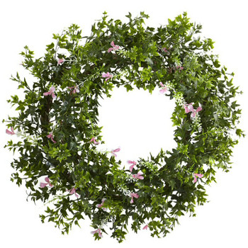 "18"" Mini Ivy and Floral Double Ring Silk Wreath with Twig Base"