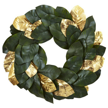 "22"" Golden Leaf Magnolia Silk Wreath"