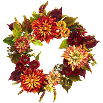"22"" Dahlia and Mum Silk Wreath"