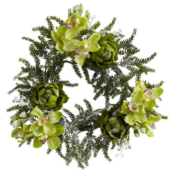 "22"" Iced Cymbidium & Artichoke Silk Wreath"