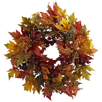 "24"" Maple and Berry Silk Wreath"