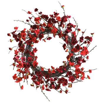 "24"" Plum Blossom Silk Wreath"