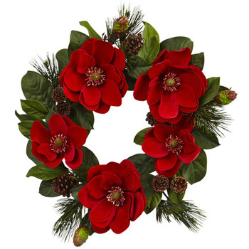 "24"" Red Magnolia and Pine Silk Wreath"