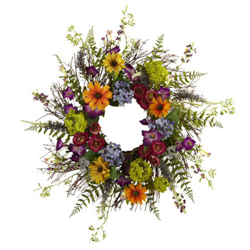 "24"" Spring Garden Silk Wreath with Twig Base"
