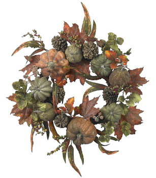 "24"" Pumpkin and Gourd Wreath"
