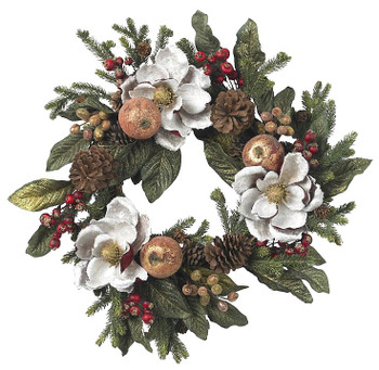 "24"" Magnolia Pinecone and Berry Wreath"
