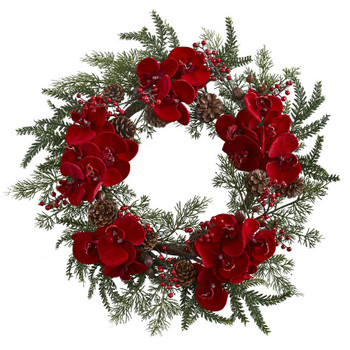 "22"" Orchid, Berry and Pine Holiday Silk Wreath"
