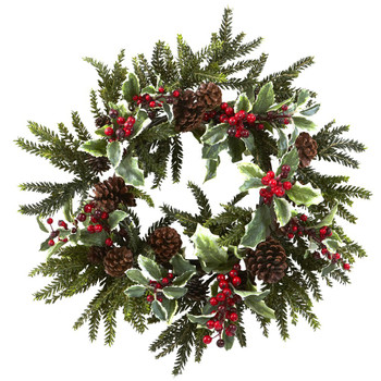 "22"" Holly Berry Silk Wreath"