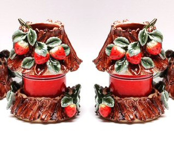 Small Strawberry Candle Jar Holder and Shade, Set of 2