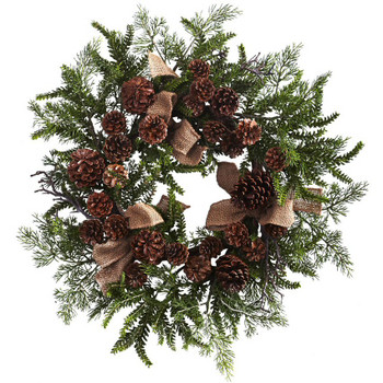 "24"" Pine and Pine Cone Silk Wreath with Burlap Bows"