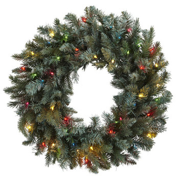 "30"" Pine Silk Wreath with Colored Lights"