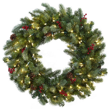 "30"" Lighted Pine Silk Wreath with Berries and Pine Cones"