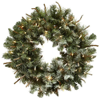 "30"" Lighted Frosted Pine Silk Wreath"
