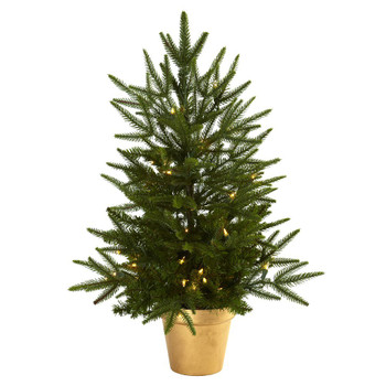 2.5' Artificial Christmas Tree with Golden Planter & Clear Lights