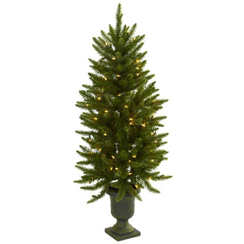 4' Artificial Christmas Tree with Urn & Clear Lights