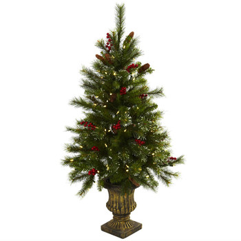 4' Artificial Christmas Tree w/Berries, Pine Cones, LED Lights & Urn