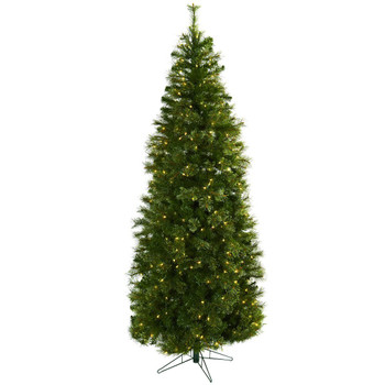7.5' Cashmere Slim Artificial Christmas Tree with Clear Lights
