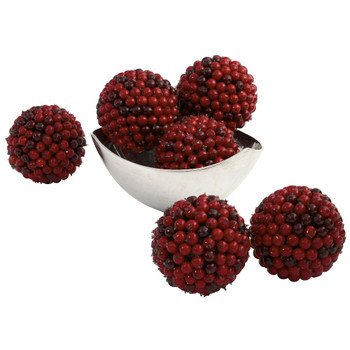 "5"" Red Berry Balls, Set of 6"