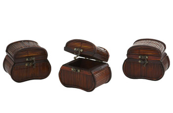 Decorative Bamboo Chests, Set of 3