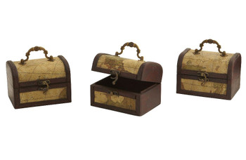 Decorative Chest with Map, Set of 3