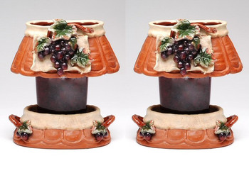 Oval Grape Candle Jar Holder and Shade, Set of 2
