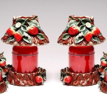 Large Strawberry Candle Jar Holder and Shade, Set of 2
