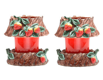 Oval Strawberry Candle Jar Holder and Shade, Set of 2