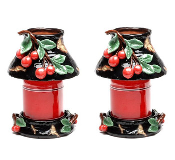 Cherry Candle Jar Holder and Shade, Set of 2