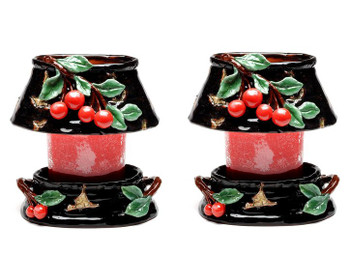 Oval Cherry Candle Jar Holder and Shade, Set of 2
