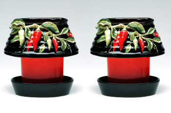 Oval Chili Candle Jar Holder and Shade, Set of 2