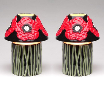 Wild Poppy Flower Candle Jar Holder and Shade, Set of 2