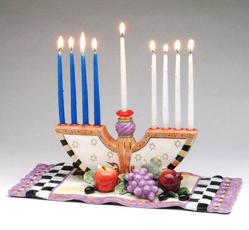 Menorah Ceramic Candle Holder