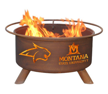 Montana State University Fighting Bobcats Metal Fire Pit