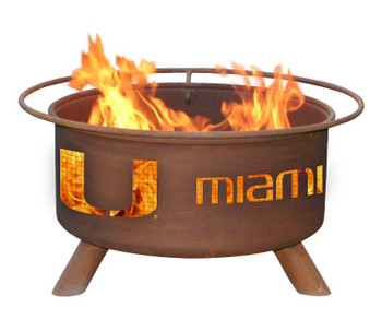 University of Miami Hurricanes Metal Fire Pit