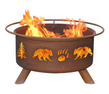 Bear and Trees Wildlife Metal Fire Pit