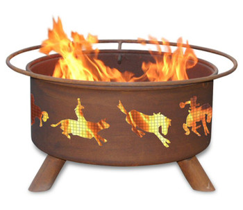 Cowboy Western Rodeo Metal Fire Pit