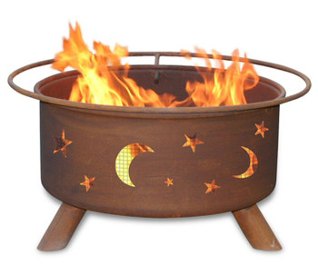 Evening Sky Stars and Moon Metal Fire Pit