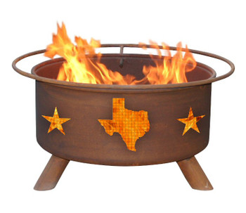 Texas State and Stars Western Metal Fire Pit